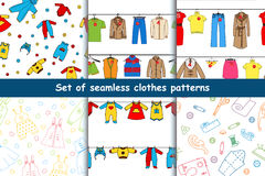 Set of vector seamless patterns with clothes. Stock Photography