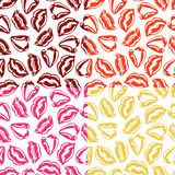 Set of vector seamless patterns with colorful lips. Stock Image