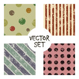 Set of vector seamless patterns Creative geometric backgrounds with lines, diagonal, circles, dots.Texture with attrition, cracks Royalty Free Stock Photos