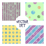Set of vector seamless patterns Creative geometric backgrounds with lines, diagonal, circles, dots.Texture with attrition, cracks. Set of vector seamless Royalty Free Stock Photo