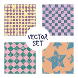 Set of vector seamless patterns Creative geometric backgrounds with squares,stars,circles, dots. Texture with attrition, cracks an Royalty Free Stock Photography