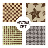Set of vector seamless patterns Creative geometric backgrounds with squares,stars,circles, dots. Texture with attrition, cracks an Stock Image