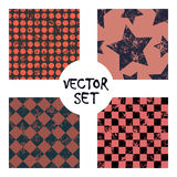 Set of vector seamless patterns Creative geometric backgrounds with squares,stars,circles, dots. Texture with attrition, cracks an. Set of vector seamless stock illustration