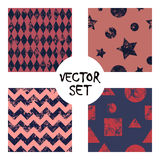 Set of vector seamless patterns Creative geometric backgrounds with squares,stars,circles.Texture with attrition, cracks and ambro. Set of vector seamless royalty free illustration