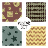 Set of vector seamless patterns Creative geometric backgrounds with squares,stars,circles.Texture with attrition, cracks and ambro Stock Photo