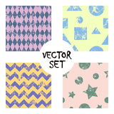 Set of vector seamless patterns Creative geometric backgrounds with squares,stars,circles.Texture with attrition, cracks and ambro Royalty Free Stock Photo
