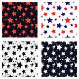 Set of vector seamless patterns Creative geometric backgrounds with stars, drops, blots.  Stock Photography