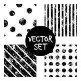 Set of vector seamless patterns Creative geometric black and white backgrounds with lines, diagonal, circles, dots. Texture with a. Set of vector seamless Royalty Free Stock Photos