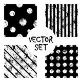 Set of vector seamless patterns Creative geometric black and white backgrounds with lines, diagonal, circles, dots. Texture with a. Set of vector seamless Royalty Free Stock Photo