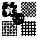 Set of vector seamless patterns Creative geometric black and white backgrounds with squares,stars,circles.Texture with attrition,. Cracks and ambrosia. Old Stock Image