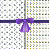 Set of vector seamless patterns with crocuses and realistic violet bow. Royalty Free Stock Photo
