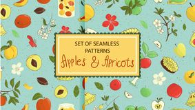 Set of vector seamless patterns of cute hand-drawn apples, apricots, pie, flowers, jam jar royalty free illustration