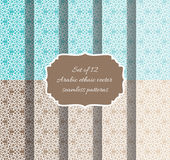 Set of vector seamless patterns in ethnic arabic style. Stock Photos