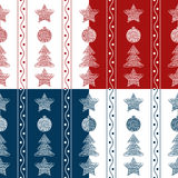 Set of vector seamless patterns garland of Christmas toys Royalty Free Stock Photography