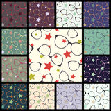 Set of vector seamless patterns with glasses Stock Photography