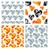 Set of vector seamless patterns with hearts. Polygonal design. Geometric triangular origami style, graphic illustration. Series of Love Seamless vector Royalty Free Stock Image