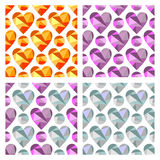 Set of vector seamless patterns with hearts. Polygonal design. Geometric triangular origami style, graphic illustration. Series of Love Seamless vector Royalty Free Stock Photos