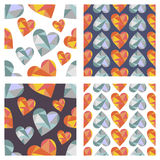Set of vector seamless patterns with hearts. Polygonal design. Geometric triangular origami style, graphic illustration. Series of Love Seamless vector Royalty Free Stock Photo