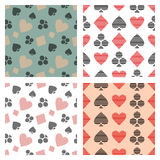 Set of vector seamless patterns with lined icons, symbol of playing card symbols. Royalty Free Stock Photo