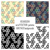Set of vector seamless patterns with mechanism of screw nuts. Creative geometric grunge backgrounds. Texture with cracks, ambrosia Royalty Free Stock Photos