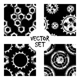 Set of vector seamless patterns with mechanism of watch. Creative geometric black,white grunge backgrounds with gear wheel. Textur Royalty Free Stock Photos