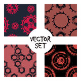 Set of vector seamless patterns with mechanism of watch. Creative geometric black,white grunge backgrounds with gear wheel. Textur. E with cracks, ambrosia stock illustration