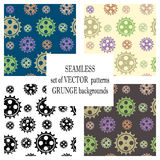 Set of vector seamless patterns with mechanism of watch. Creative geometric grunge backgrounds with gear wheel. Texture with crack. S, ambrosia, scratches Royalty Free Stock Photo