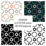 Set of vector seamless patterns with mechanism of watch. Creative geometric grunge backgrounds with gear wheel. Texture with crack. S, ambrosia, scratches Royalty Free Stock Photos
