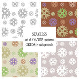 Set of vector seamless patterns with mechanism of watch. Creative geometric grunge backgrounds with gear wheel. Texture with crack. S, ambrosia, scratches Royalty Free Stock Image