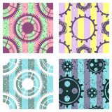 Set of vector seamless patterns with mechanism of watch, metal parts, screw nuts. Creative geometric grunge backgrounds with gear. Wheel. Texture with cracks Royalty Free Stock Photos