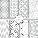 Set of vector seamless patterns. Modern stylish geometric textures with small dots. Infinitely repeating geometrical ornaments with dotted shapes. Trendy Royalty Free Stock Photos