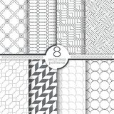 Set of vector seamless patterns. Modern stylish geometric textures with small dots. Infinitely repeating geometrical ornaments with dotted shapes. Trendy royalty free illustration