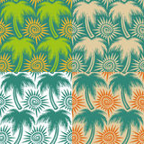 Set of vector seamless patterns with palm trees and sun. EPS10. Set of vector seamless patterns with palm trees and sun Royalty Free Stock Photos