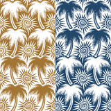 Set of vector seamless patterns with palm trees and sun. Royalty Free Stock Images