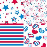Vector seamless patterns, stars, fireworks, hearts. Set of vector seamless patterns, stars, fireworks, hearts Royalty Free Stock Photos