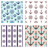 Set of vector seamless patterns. Steering wheel, life preserver, anchor, rope. Creative geometric backgrounds, nautical theme. Gra Stock Image