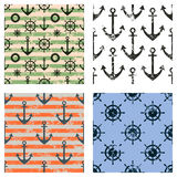 Set of vector seamless patterns. Steering wheel, life preserver, anchor, rope. Creative geometric backgrounds, nautical theme. Gra Royalty Free Stock Images