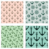 Set of vector seamless patterns. Steering wheel, life preserver, anchor, rope. Creative geometric backgrounds, nautical theme. Gra Stock Images