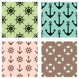 Set of vector seamless patterns. Steering wheel, life preserver, anchor, rope. Creative geometric backgrounds, nautical theme. Gra Stock Photography
