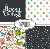 Set of vector  seamless patterns. With stylish Christmas trees, snow and bows and Merry Christmas greeting card Stock Photo