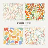 Set of vector seamless patterns of stylized leaves and petals Stock Images