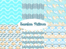 Set of vector seamless patterns for summer Stock Photos