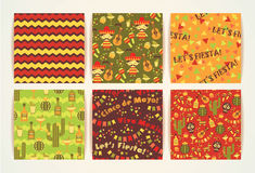 Set of vector seamless patterns with traditional Mexican symbols Stock Photos