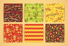 Set of vector seamless patterns with traditional Mexican symbols Royalty Free Stock Image