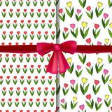 Set of vector seamless patterns with tulips and realistic red bow. Stock Image