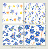 Set of vector seamless patterns. Watercolor iris, leaves, butter Stock Images