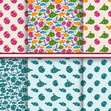 Set of vector seamless sea patterns Stock Photos