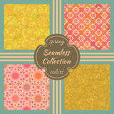 Set of vector seamless textures. Collection of patterns with floral and geometric ornaments. Spring theme in pink and yellow colors. Vintage design Stock Photos