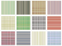 Set of vector seamless textures. Pastel different checkered, lined backgrounds in pastel colors, fabric swatch samples texture of Stock Photo