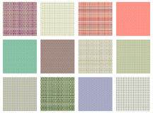 Set of vector seamless textures. Pastel different checkered, lined backgrounds in pastel colors, fabric swatch samples texture of Royalty Free Stock Images